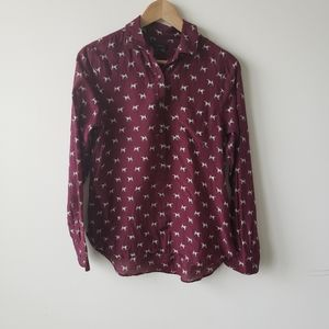 J crew women's popover shirt in terrier print sz 6